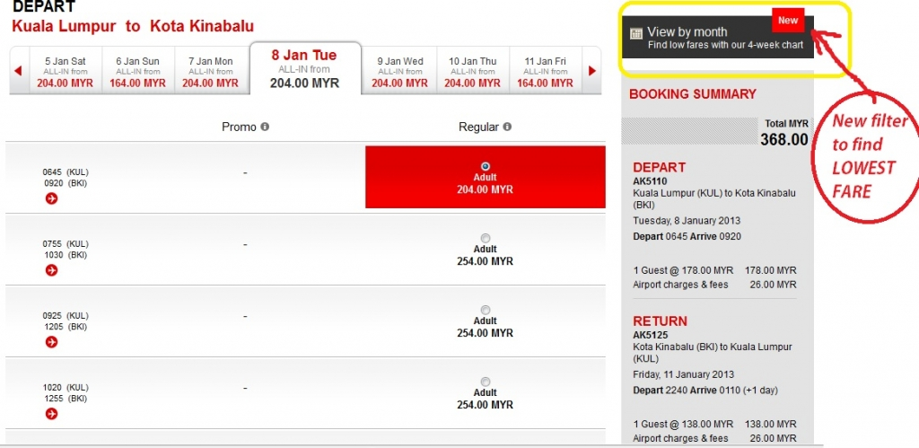 AirAsia new filter box to get lowest fare