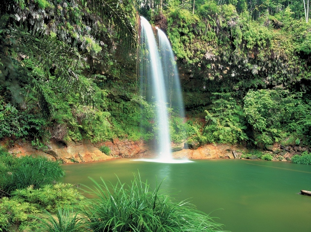 A waterfall in the in the middle of Sarawak jungle